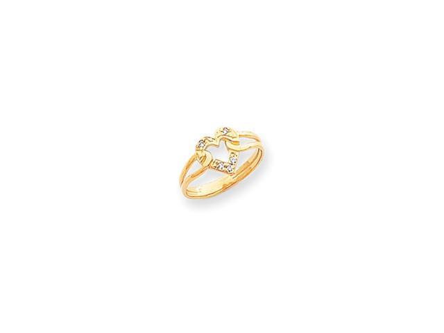 14k Polished .05ct. Diamond Heart Ring Mounting