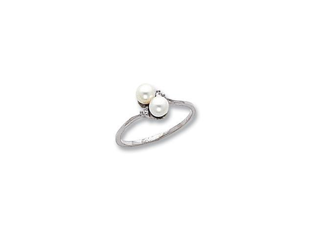 14k White Gold Polished .02ct. Diamond & Pearl Ring Mounting