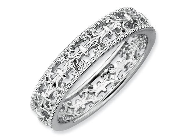 Sterling Silver Stackable Expressions Polished Fleur De Lis Ring