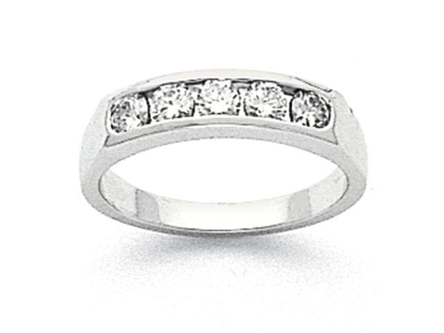 14k White Gold Tapered Milled 5-Stone Channel Band Mounting
