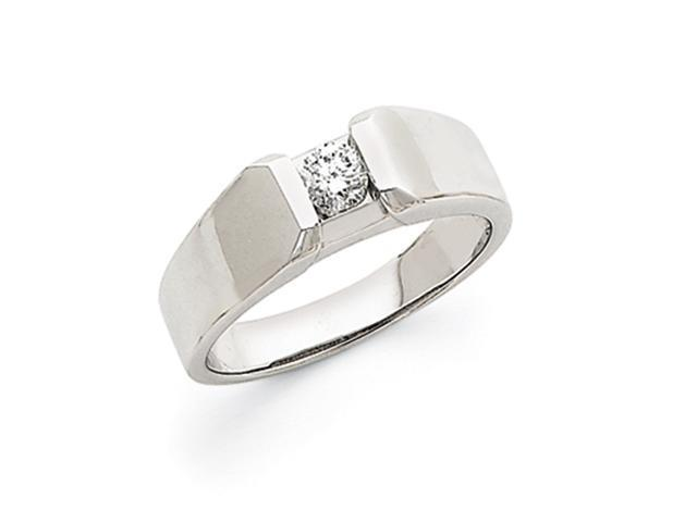 14k White Gold AA Diamond men's ring Diamond quality AA (I1 clarity, G-I color)