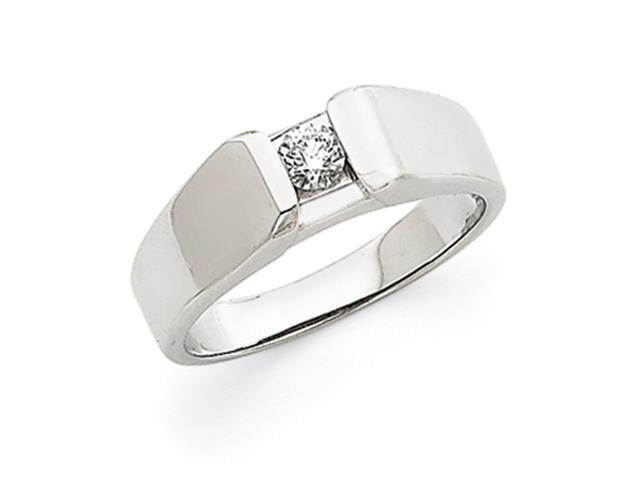 14k White Gold Fancy Polished Mens Diamond Ring Mounting