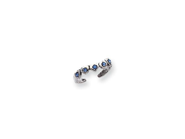Sterling Silver Blue CZ Heart Toe Ring