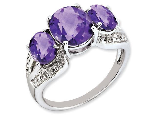 Sterling Silver Oval Amethyst & Diamond Ring