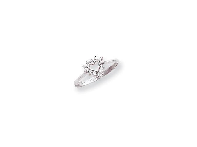 14k White Gold Polished .17ct. Diamond Heart Ring Mounting