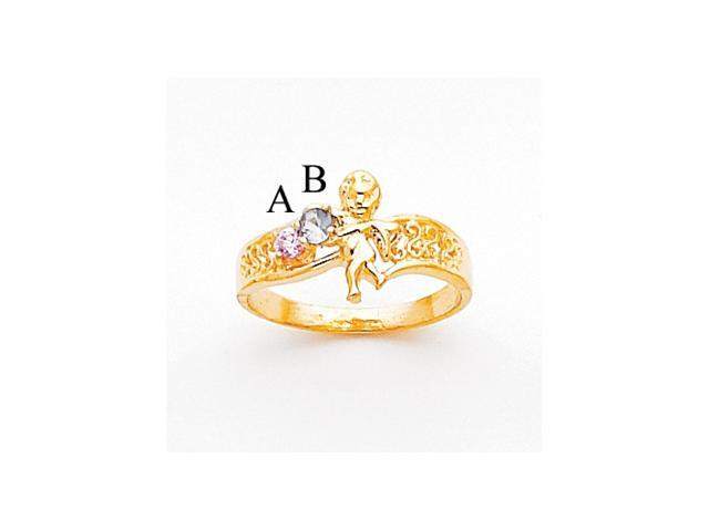 14k Polished 2-Stone Mothers Ring with Angel on Band Mounting
