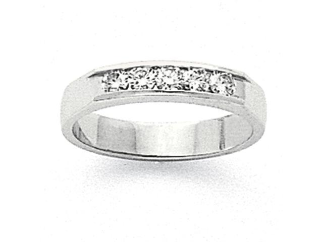 14k White Gold Milled Partial Open 5-Stone Channel Band Mounting