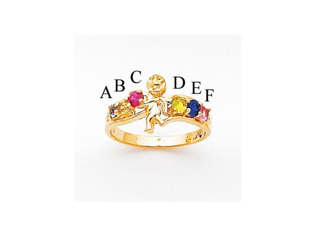 14k Polished 6-Stone Mothers Ring with Angel on Band Mounting