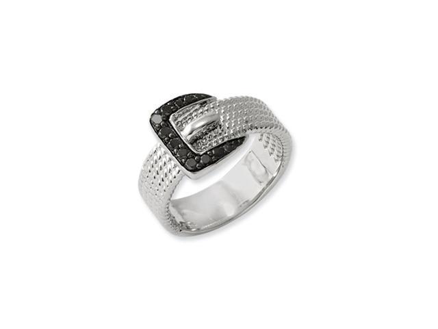 Sterling Silver Black Diamond Buckle Ring
