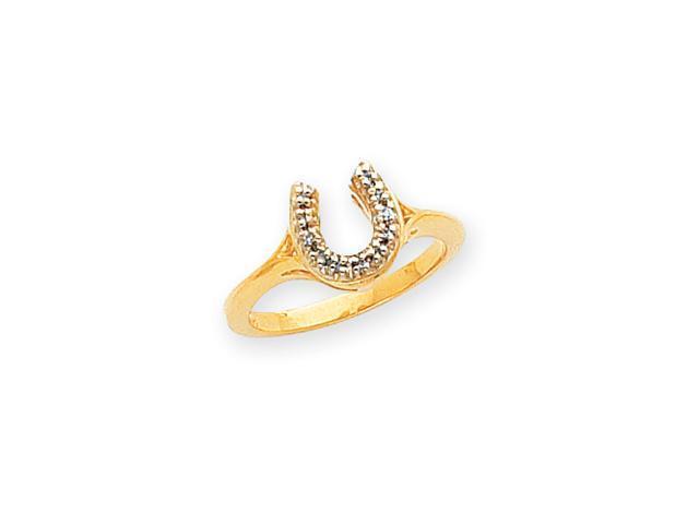 14k Polished .04ct. Diamond Horseshoe Ring Mounting