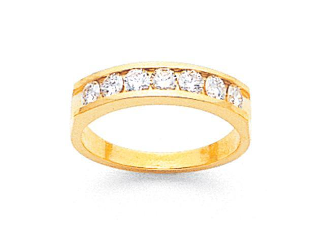 14k Tapered Milled Partial Open 7-Stone Channel Band Mounting