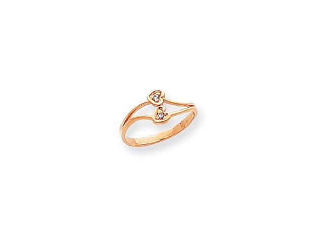 14k Rose Gold Polished .02ct. Diamond Heart Ring Mounting