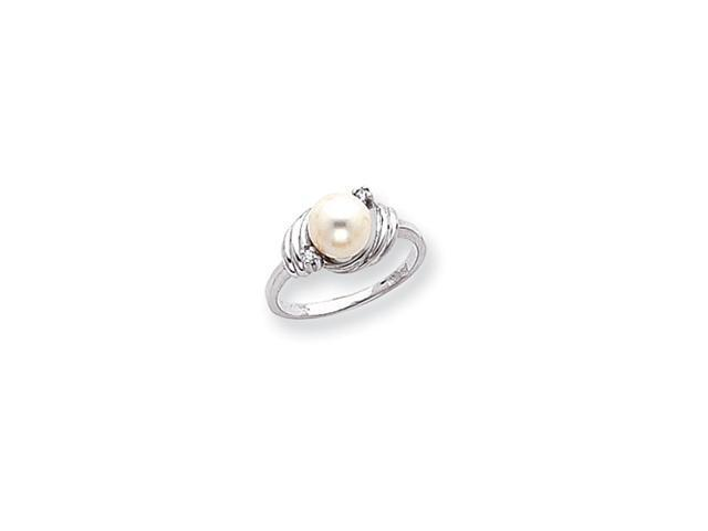 14k White Gold Polished .03ct. Diamond & Pearl Ring Mounting