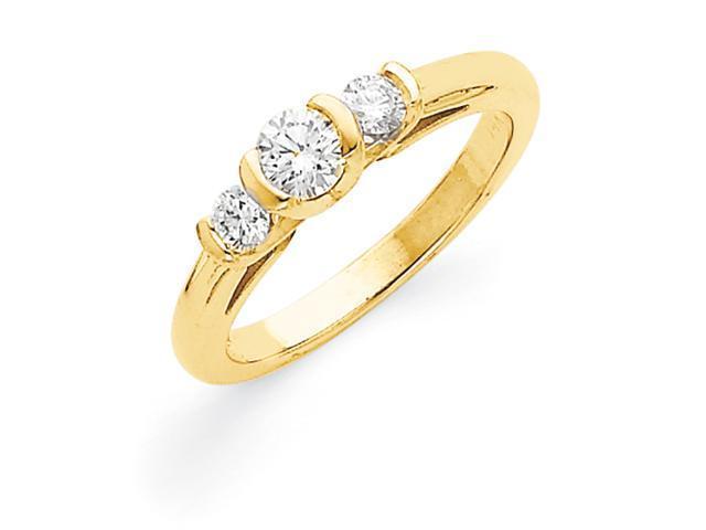 14k AA Diamond three stone ring Diamond quality AA (I1 clarity, G-I color)
