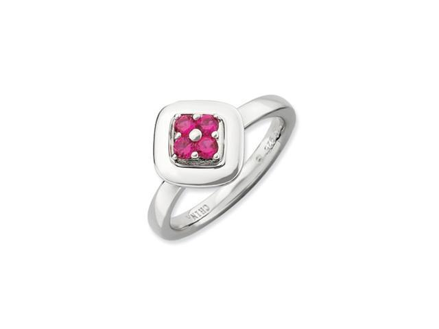 Sterling Silver Stackable Expressions Polished Created Ruby Ring