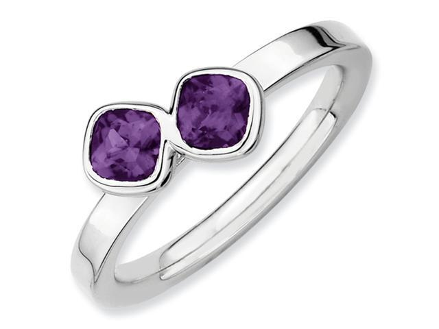 Sterling Silver Stackable Expressions Db Cushion Cut Amethyst Ring