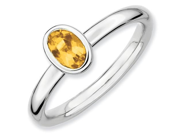 Sterling Silver Stackable Expressions Oval Citrine Ring