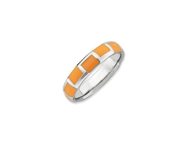 Sterling Silver Stackable Expressions Polished Orange Enameled Ring
