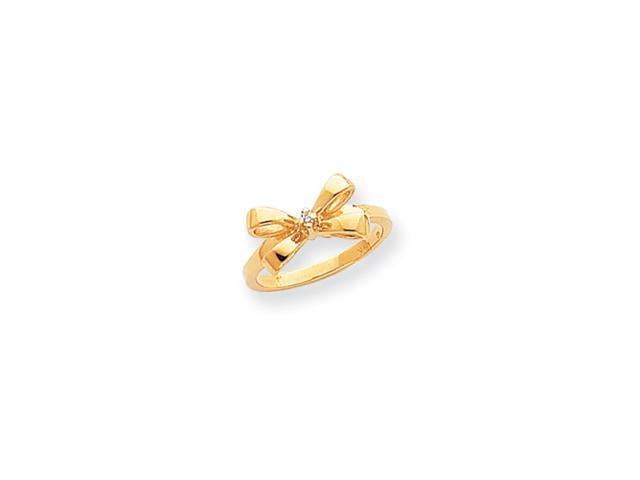 14k Polished .02ct. Diamond Bow Ring Mounting