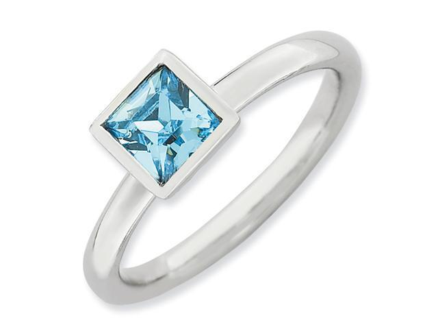 Sterling Silver Stackable Expressions Square March Swarovski Ring