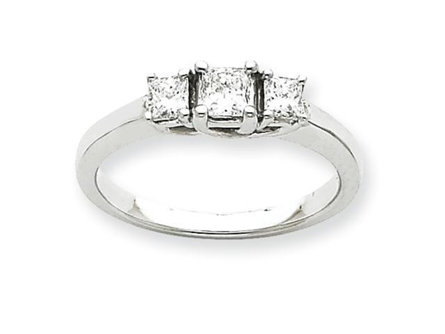 14k White Gold Three Stone Ring Mounting