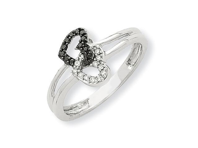 14K White Gold Black & White Diamond Heart Ring Diamond quality AA (I1 clarity, G-I color)