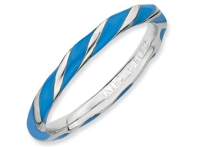 Sterling Silver Twisted Blue Enameled 2.4 x 2.0mm Stackable Ring