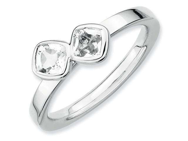 Sterling Silver Stackable Expressions Db Cushion Cut White Topaz Ring