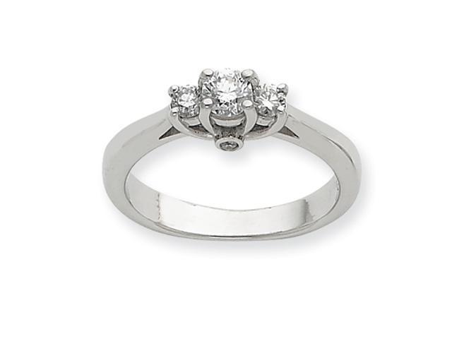 14k White Gold .44ct. Diamond Three Stone Ring Mounting