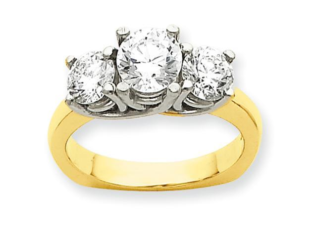 14k Two-tone Three Stone Anniversary Band Mounting