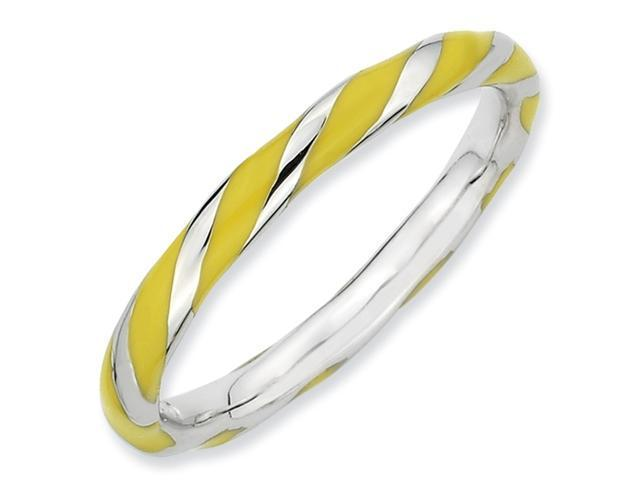 Sterling Silver Twisted Yellow Enameled 2.4 x 2.0mm Stackable Ring