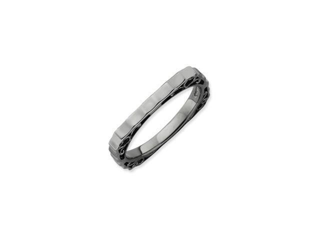 Sterling Silver Stackable Expressions Polished Black-plate Square Ring