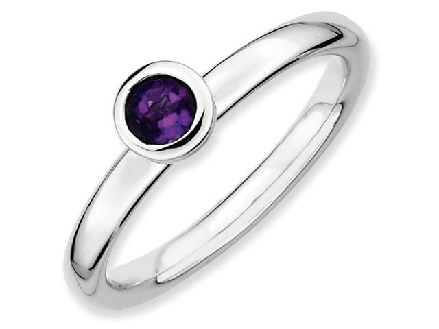 Sterling Silver Stackable Expressions Low 4mm Round Amethyst Ring