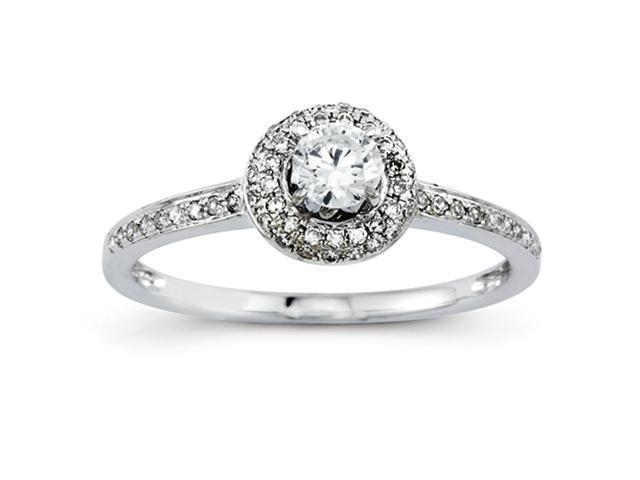 14k White Gold Engagement Ring Diamond quality AA (I1 clarity, G-I color)