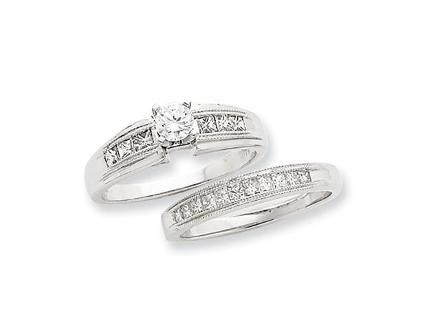 14k White Gold Peg Set A Quality Semi-Mount Engagement Ring Diamond quality A (I2 clarity, I-J color)