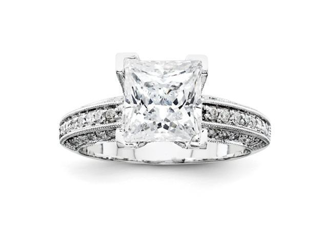 14k White Gold AA Diamond Semi-mount Ring Diamond quality AA (I1 clarity, G-I color)