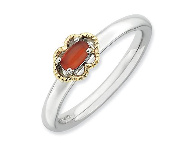 Sterling Silver & 14k Stackable Expressions Red Agate Polished Ring
