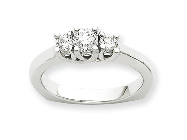 14k White Gold Three Stone Anniversary Band Mounting