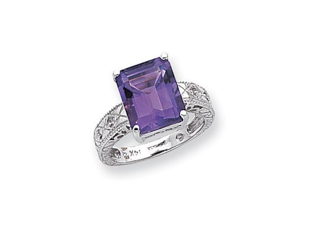 14k White Gold 12x10mm Emerald Cut Amethyst AA Diamond ring Diamond quality AA (I1 clarity, G-I color)