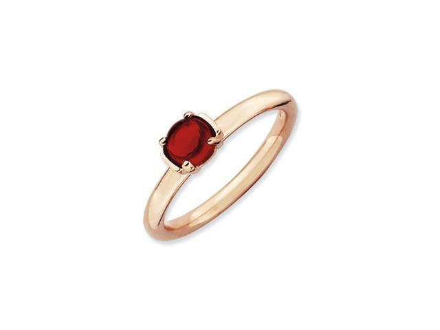 Sterling Silver Stackable Expressions Garnet Pink-plated Ring