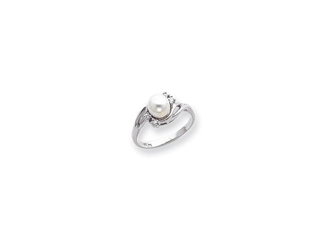 14k White Gold Polished .06ct. Diamond & Pearl Ring Mounting