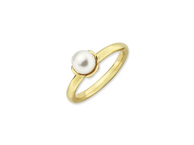Sterling Silver Stackable Expressions White Pearl Gold-plated Ring
