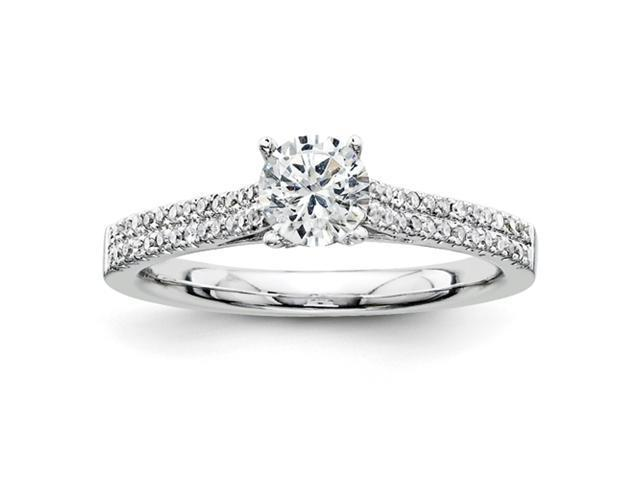 14K White Gold Diamond Semi Mount 0.50ct. Center Stone Ring Diamond quality AA (I1 clarity, G-I color)