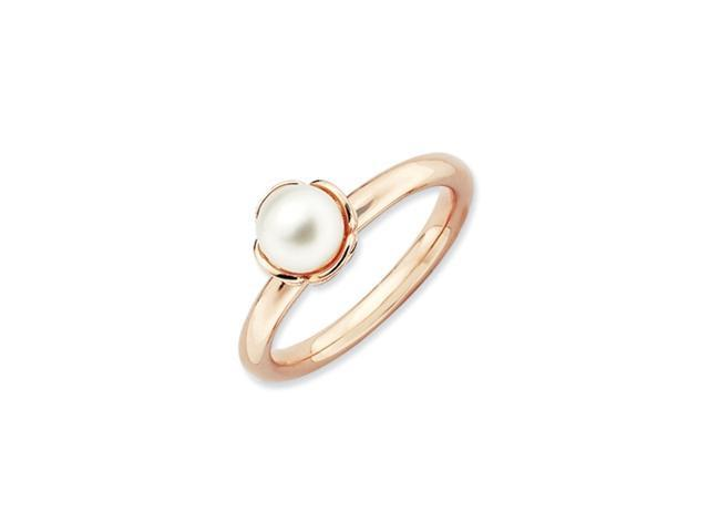 Sterling Silver Stackable Expressions White Pearl Pink-plated Ring