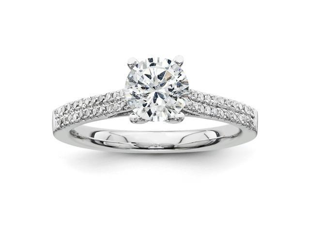 14K White Gold Diamond Semi Mount 0.75ct. Center Stone Ring Diamond quality AA (I1 clarity, G-I color)