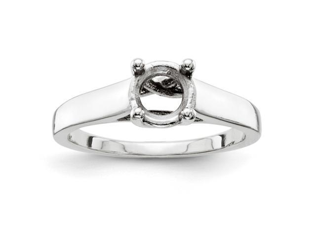 14k White Gold 6mm Solitaire Ring Mounting