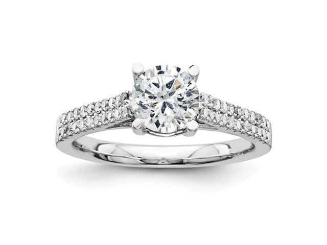 14K White Gold Diamond Semi Mount 1.00ct. Center Stone Ring Diamond quality AA (I1 clarity, G-I color)