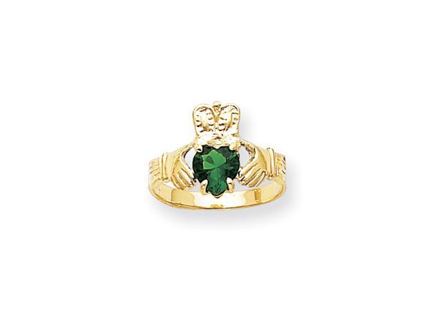 14k May Birthstone Claddaugh Ring
