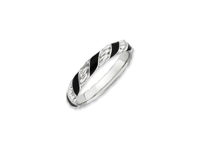 Sterling Silver Stackable Expressions Polished Black Enameled Ring
