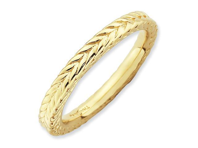 Sterling Silver Stackable Expressions Gold-plated Domed Ring